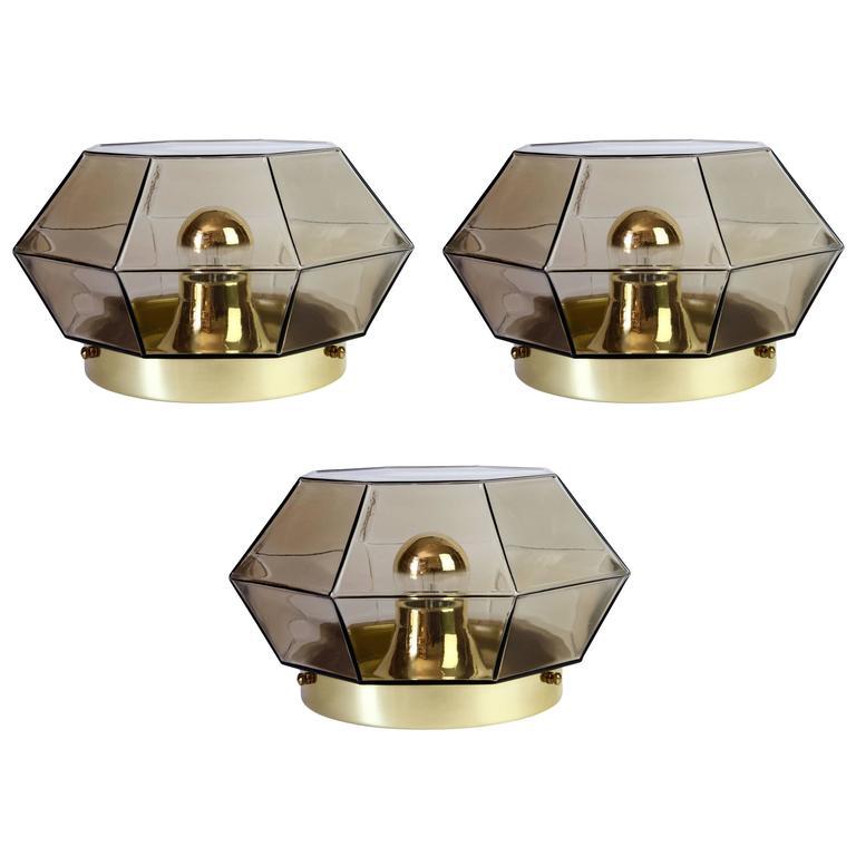 Three Large Geometric Smoked Glass & Brass Flush Mount Lights by Limburg, 1970s
