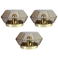 Three Large Geometric Smoked Glass & Brass Flush Mount Lights by Limburg, 1970s