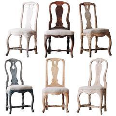 Set of Six 18th Century Swedish Rococo Chairs