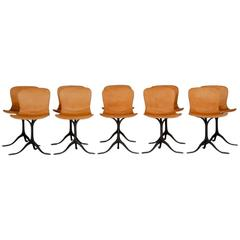 Set of 10 Brass and Leather Chairs, by P. Tendercool