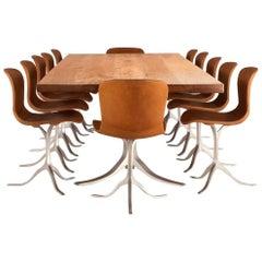 Bespoke Dining Set, Reclaimed Hardwood and Sand-Cast Brass and Aluminium
