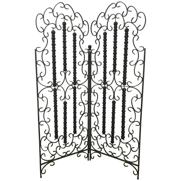 Wrought Iron and Wood Mediterranean Modern Folding Screen or Divider For Sale