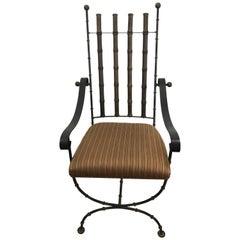 Classic Regency Modern Faux Bamboo, Wood and Brass Armchair