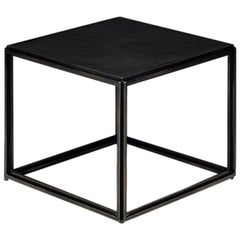 Cubist Glass, Bronze & Brass Occasional Handmade Square Table, by P. Tendercool