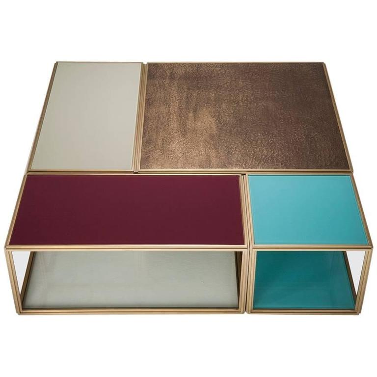 "Modular ""Mondrian"", Bronze, Brass and Glass Low Table, by P. Tendercool For Sale"