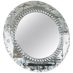 Art Deco Round Mirror with Optic Bullseye Motif