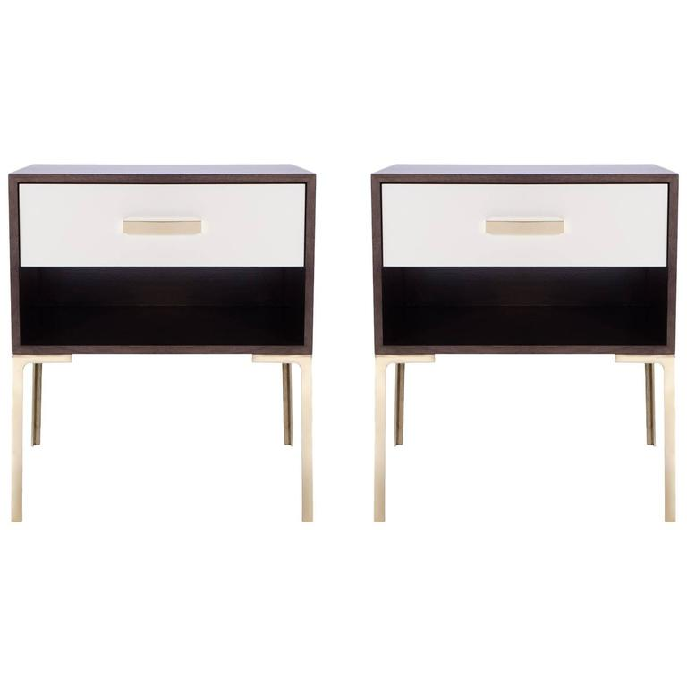 Astor Tall Brass Nightstands in Ebony and Ivory Walnut by Montage For Sale