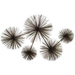 Brass 1979 Curtis Jere Pom Pom / Sea Urchin Wall Sculpture