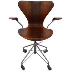 Rare Rosewood Earliest Edition Arne Jacobsen Swivel Desk Chair