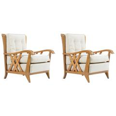 Pair of Mid-Century Solid Cherry Armchairs by Paolo Buffa