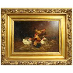 Antique Oil on Canvas Painting of Rooster with Nesting Hens, Gilt Frame