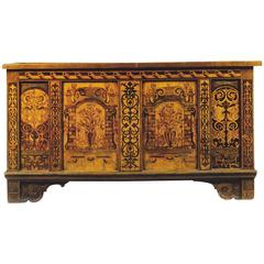 16th Century Fruitwood Inlaid Oak, Elmwood Marquetry Renaissance Coffer