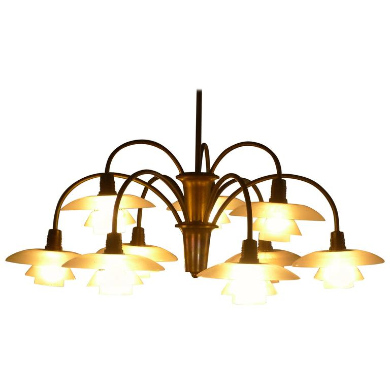 Poul Henningsen Early Nine Branch Chandelier For Sale