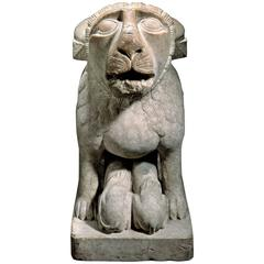 Rare Romanesque Lioness, a Support for a Column or Baptistry