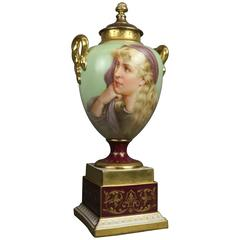 Antique Royal Vienna Porcelain Hand-Painted and Gilt Portrait Urn Sgnd Heim