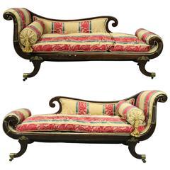 Pr of Antique English Regency Carved Mahogany Upholstered Recamier Settees c1820