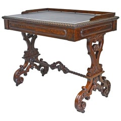 New York Meeks & Sons Writing Table in Plum Mahogany with Leather, circa 1840