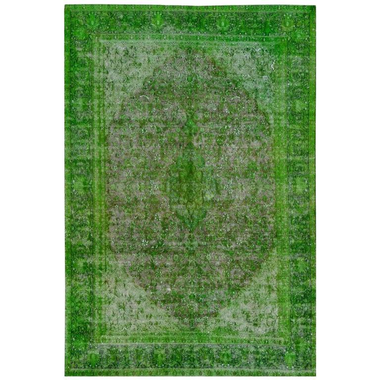 Rug Green Chlorophyll  Vintage Carpet Oversized Large Redyed Circa 1970 1