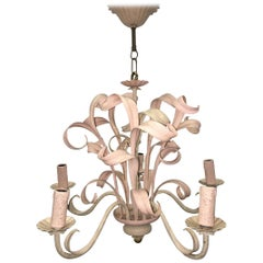 Light Pink Shabby Chic Florence Style Chandelier, 1960s