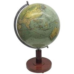 Art Deco Earth Globe by Paul Oestergaard, Berlin, circa 1930s