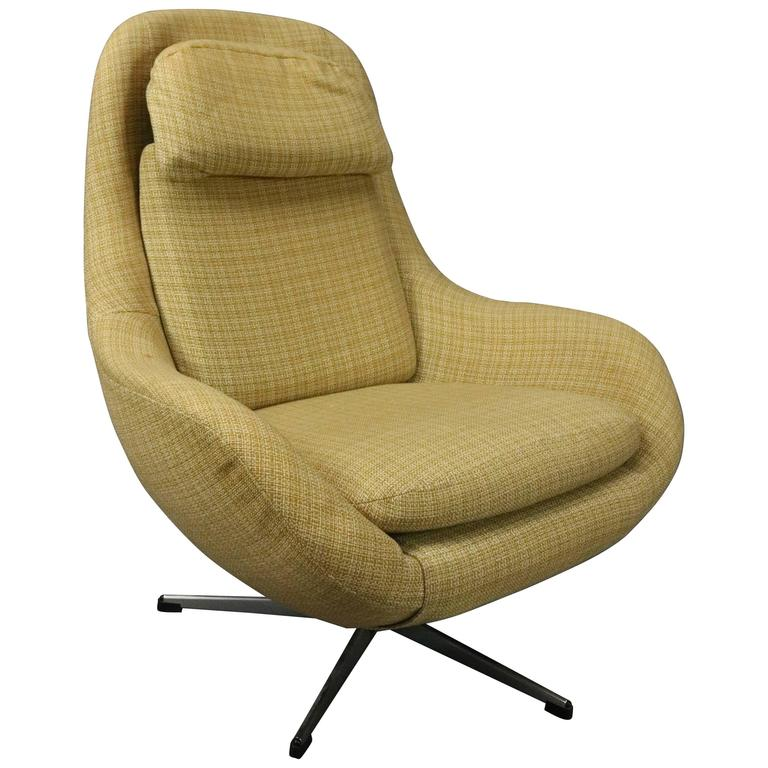 Vintage Mid Century Modern Knoll Style Upholstered Swivel Club Chair Circa 1960 1