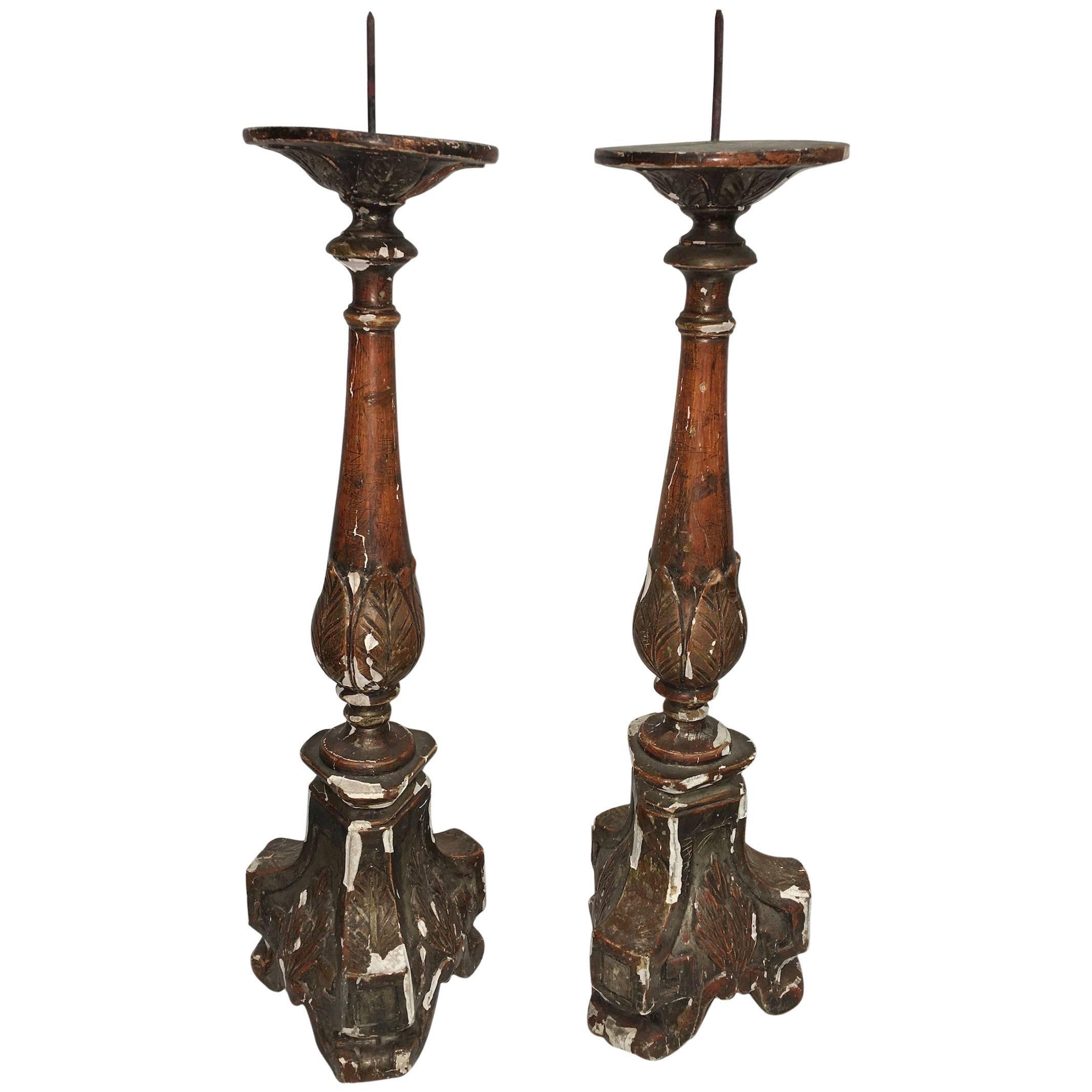 Pair of 18th Century Italian Giltwood Altar Candlesticks