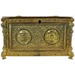 19th Century Renaissance Revival Bronze Jewelry Box with Decoration of Mascaron