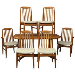 Mid Century Danish Modern Dining Room Set, Table and Six Chairs, circa 1960