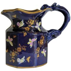 Early Mason's Jug or Pitcher, Ironstone, Hand-Painted Butterflies, circa 1825