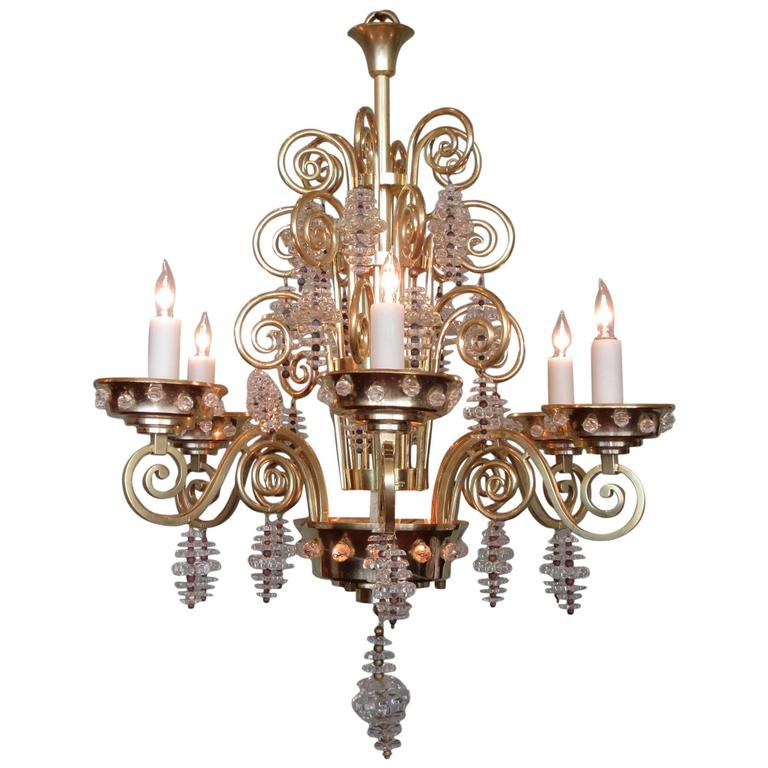 20th Century French Art Deco Bronze and Glass Chandelier by Glass Artist Sabino 1