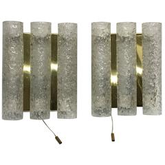 Pair of 1960s German Brass Three Tubes Doria Glass Sconces