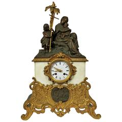 Bronze and Marble Clock Representing Virgin, Child and St John the Baptist