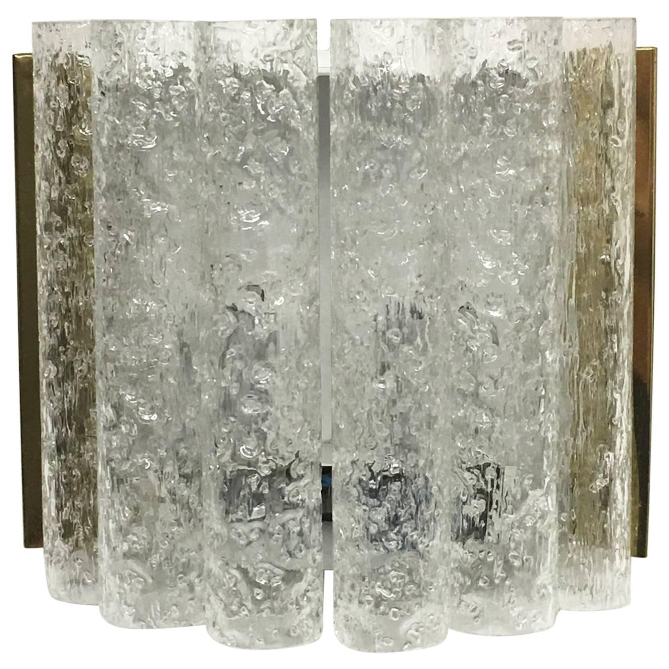 Chic 1960s German Brass Six Tubes Doria Glass Sconces