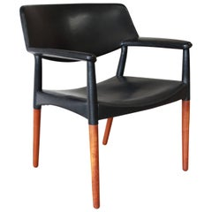Ejner Larsen and Aksel Bender Madsen Black Leather Armchair in Rosewood