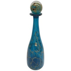 Vintage Handblown Blue and Green Glass Decanter Mdina Glass