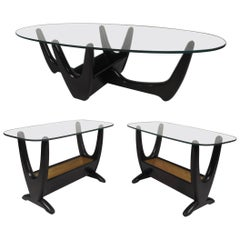 Set of Mid-Century Modern Glass Top Tables by Tonk Manufacturing Co.
