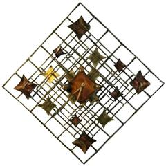 Beautiful Brutalist Wall Sculpture or Modern Clock by Curtis Jere