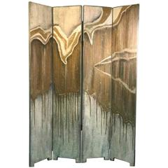 Exceptional French Art Deco Four-Panel Screen in the Manner of Jean-Michel Frank