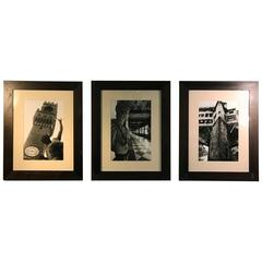 Set of Three Exceptional Quality Signed Roman Photographs in Modern Frames