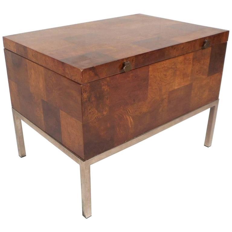 Mid-Century Modern Burl Storage Box with Chrome Base by Lane Furniture