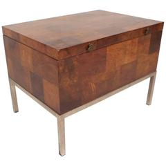 Mid-Century Modern Burl Storage Box with Chrome Base by Lane Furniture