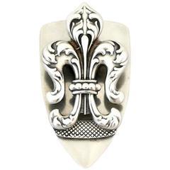 George Shiebler for Tiffany Sterling Silver Fleur-de-Lis Document Clip