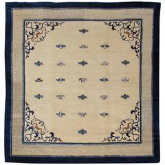 Late 19th Century Ivory and Blue Chinese Peking Carpet