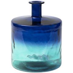 Monumental Indigo and Aquamarine Glass Bottle