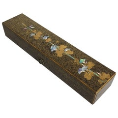 Japanese Edo Period Igarashi School Long Lacquer Box, Tanzaku-Bako