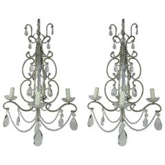 Silver Crystal Beaded Mirrored Sconces, Pair