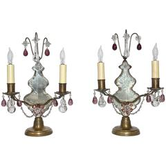 Pair of French Louis XV Style Bronze and Crystal Girandoles Mantle Lamps