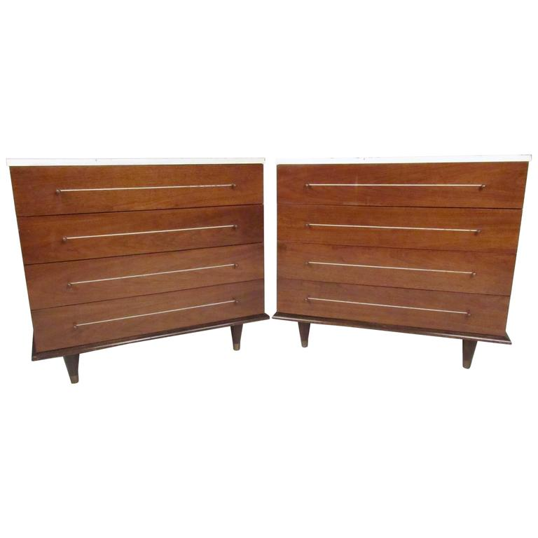 Stylish Pair of Mid-Century Modern Bachelor Chests