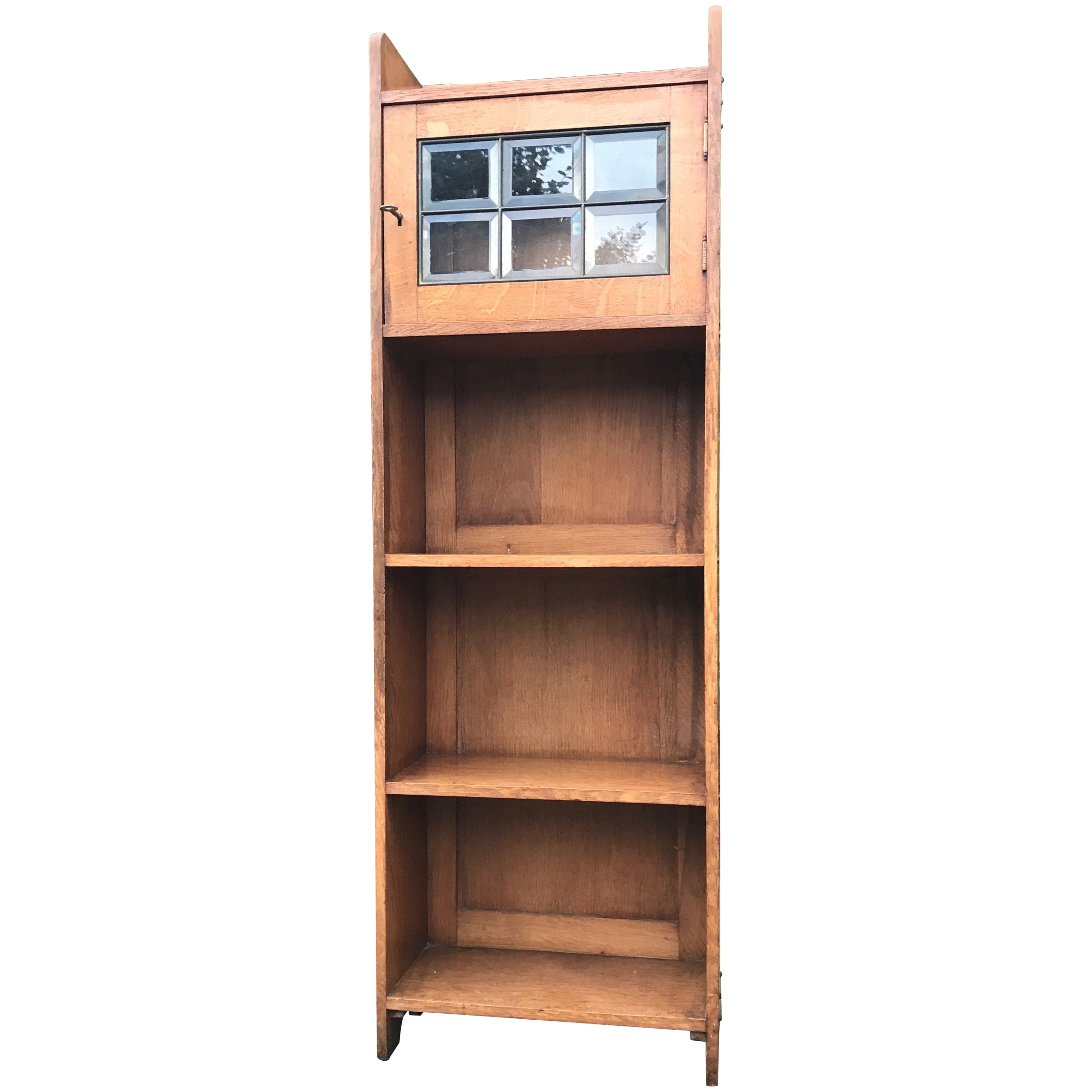 Practical Size Solid Oak Arts and Crafts Antique Bookcase with Beveled Glass