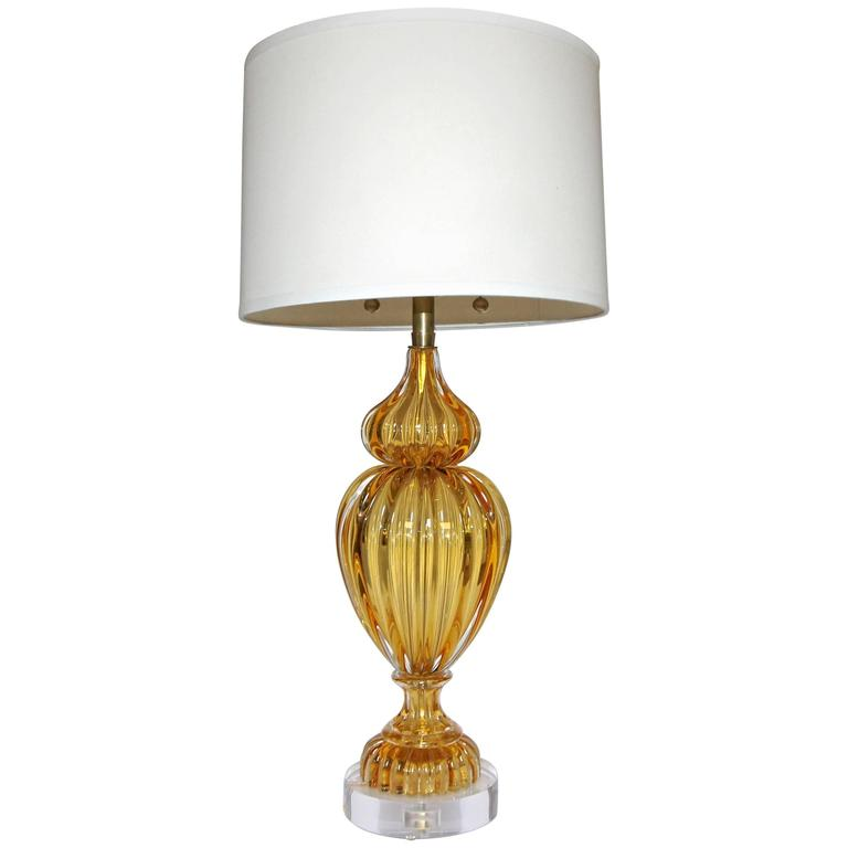 Large Amber Seguso Murano Italian Table Lamp For Marbro For Sale